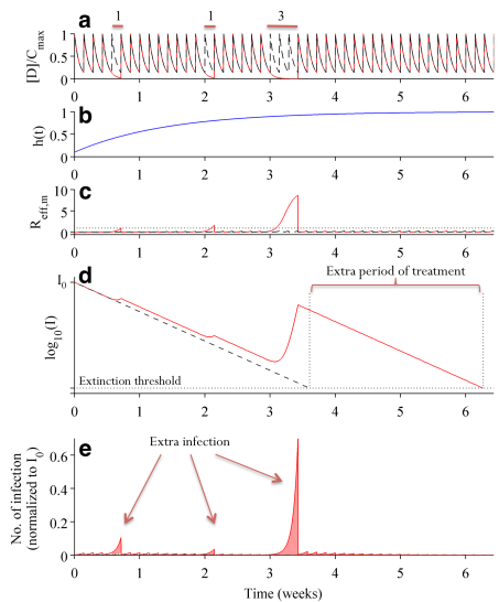 Simulation runs showing the impact of suboptimal adherence: 1) persistence of pre-existing mutant, and 2) risk of de novo generation of full resistant mutants.